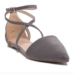Refresh Faux Suede Pointed Toe Ankle Strap Flats